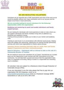 DRC Generations Volunteering opportunities sept 2021